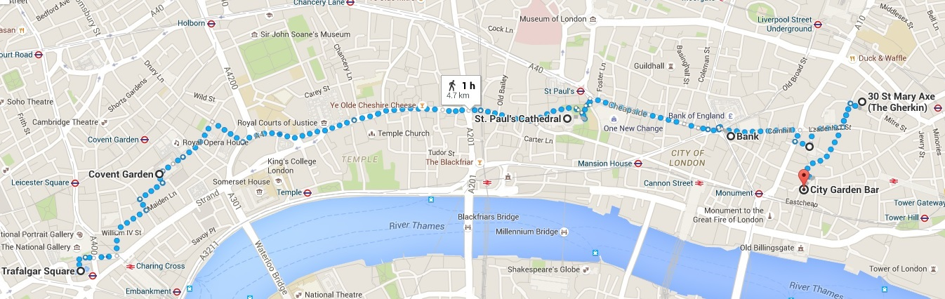 London itinerary - Day 2 map