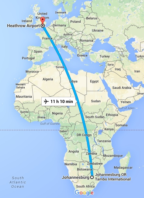 South Africa to the UK
