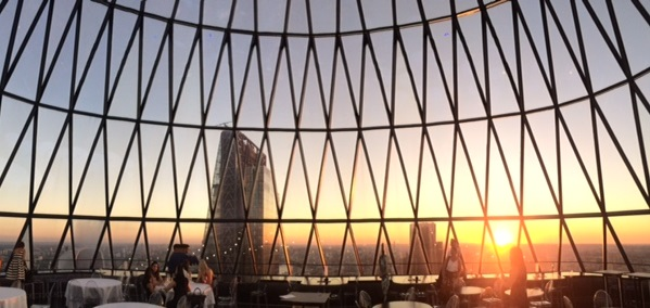 The Gherkin sunset panorama